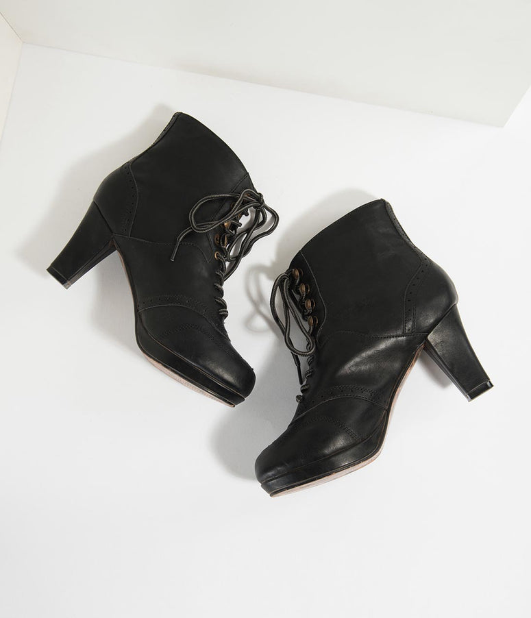 Bettie Page Black Leatherette Heeled Adamay Lace Up Booties