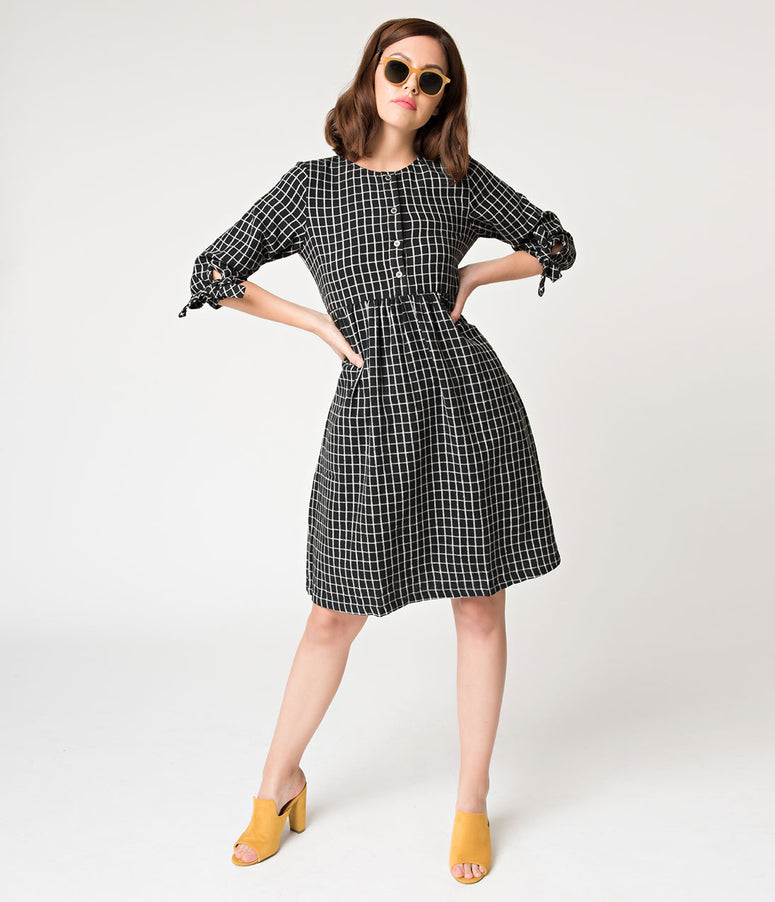 Black & White Windowpane Brushed Cotton Flare Dress