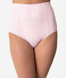 Kingdom & State Pink & White Gingham High Waist Bombshell Swim Bottom