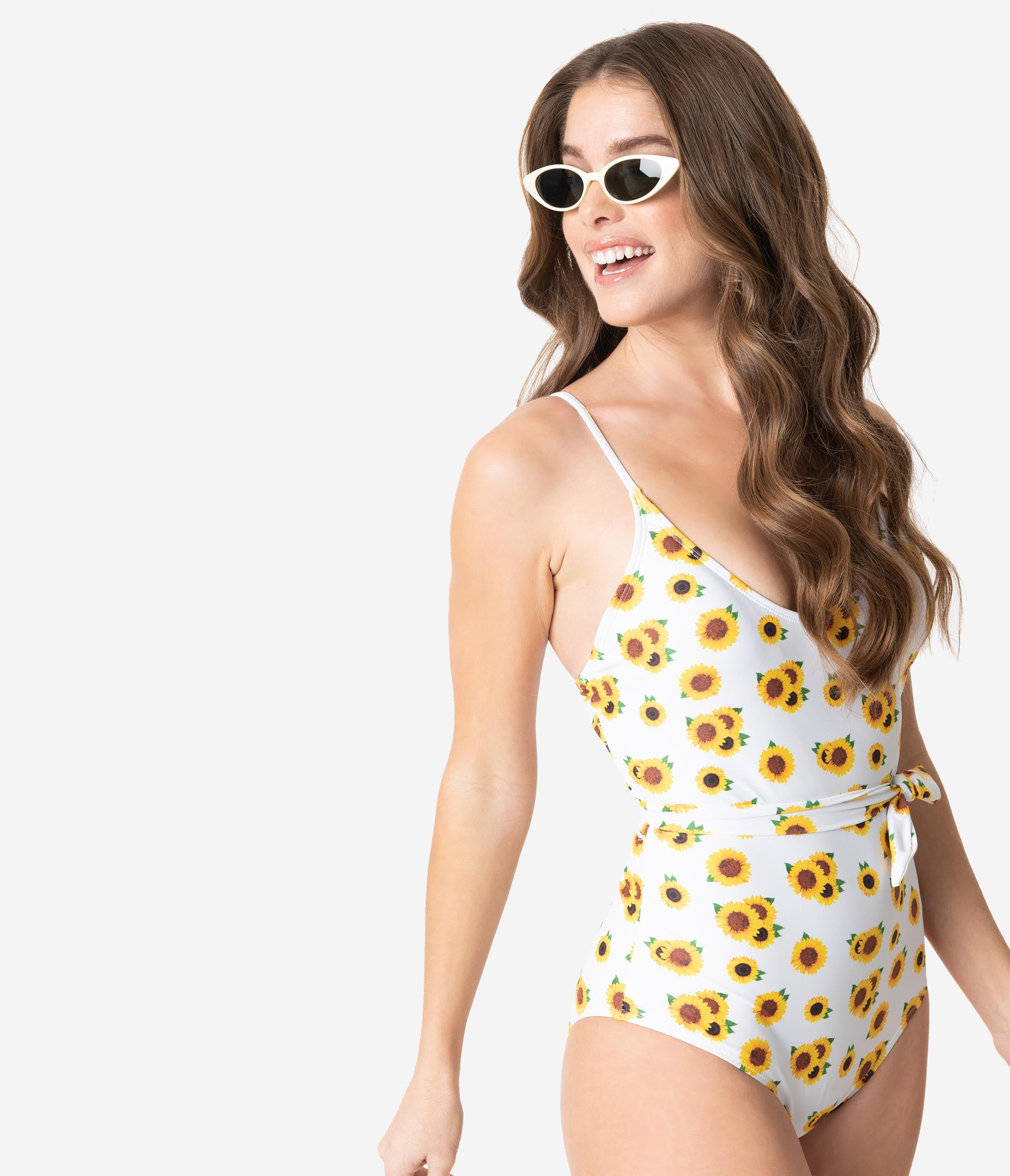 60s Mod Clothing Outfit Ideas Kingdom  State White  Yellow Floral Bow Tie One Piece Swimsuit $74.00 AT vintagedancer.com