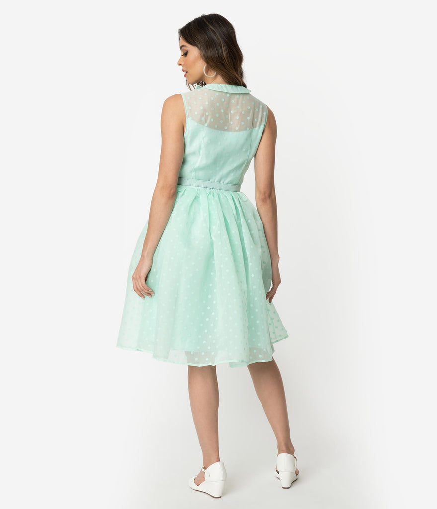 Unique Vintage 1950s Style Mint Swiss Dotted Sleeveless Georgia Swing Dress
