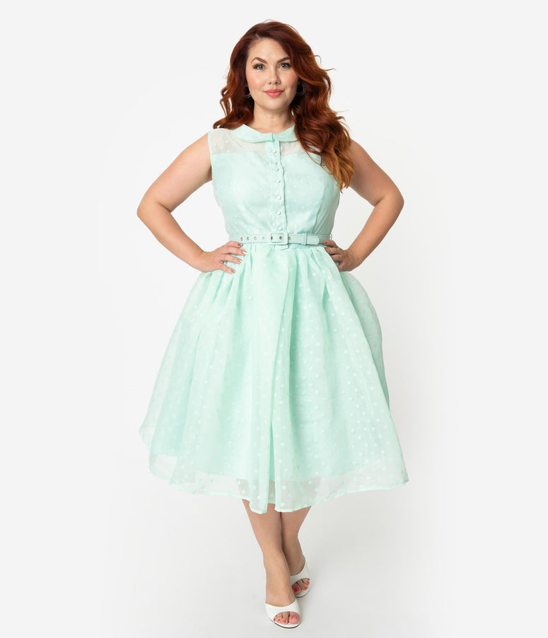 Unique Vintage Plus Size 1950s Style Mint Swiss Dotted Sleeveless Georgia Swing Dress