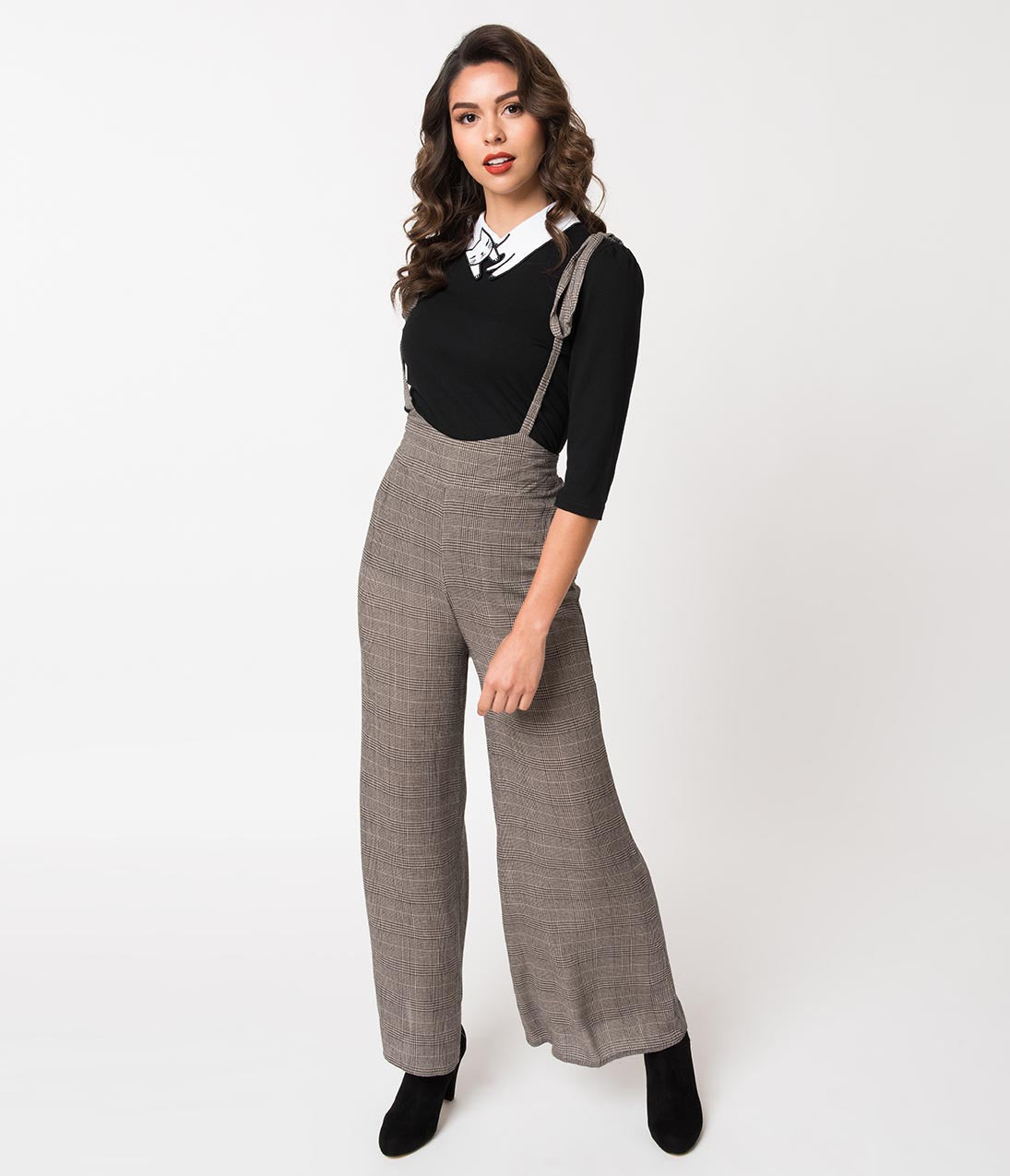 1940s Swing Pants & Sailor Trousers- Wide Leg, High Waist Black  Grey Glen Check Plaid Woven Suspender Pants $38.00 AT vintagedancer.com