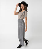 Black & White Gingham Woven Suspender Pants