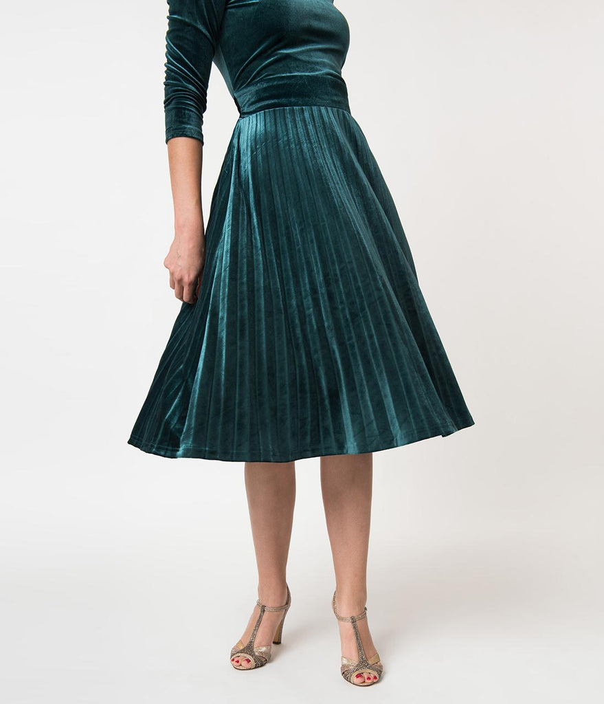 a9a4d60789ba Retro Style Hunter Green Velvet Pleated Sleeved Swing Dress – Unique ...