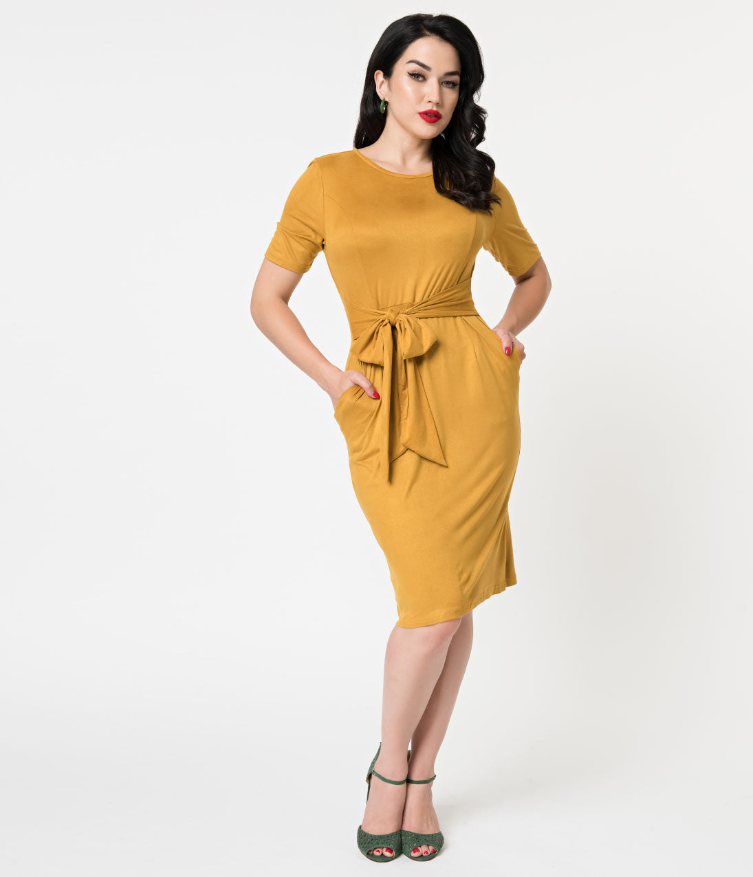 1960s Dresses | 60s Dresses Mod, Mini, Jakie O, Hippie Mustard Yellow Suede Short Sleeve Wiggle Dress $52.00 AT vintagedancer.com