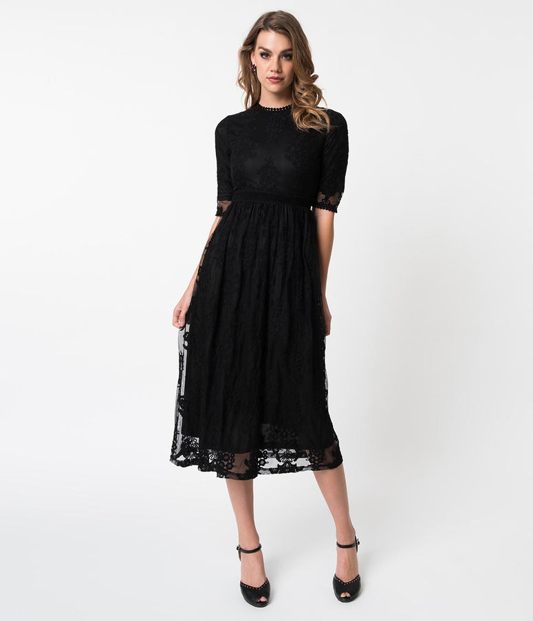 Vintage Style Black Embroidered Lace Midi Dress