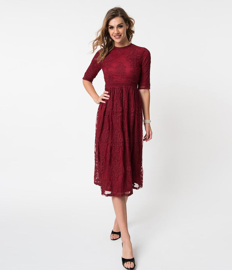 Vintage Style Burgundy Red Embroidered Lace Midi Dress