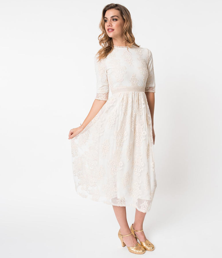 Vintage Style Cream Ivory Embroidered Lace Midi Dress