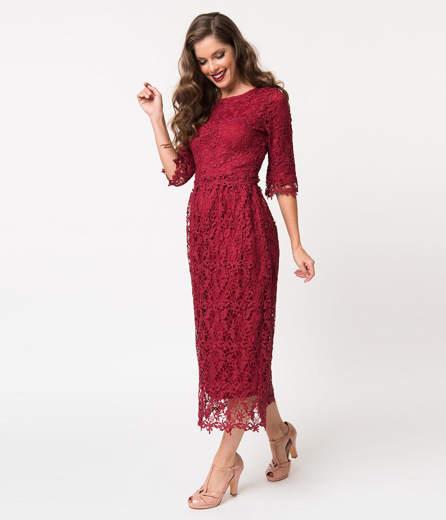 Vintage Style Burgundy Lace Half Sleeved Midi Dress