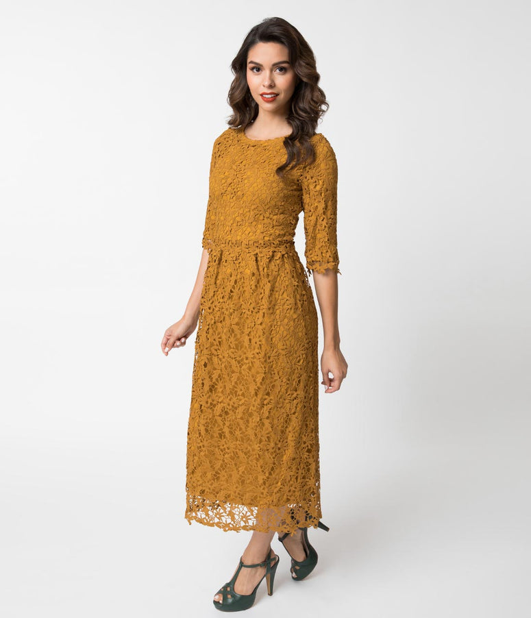Vintage Style Mustard Lace Half Sleeved Midi Dress