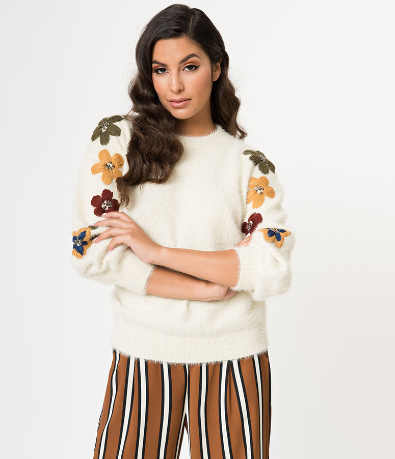 Ivory Fuzzy Knit & Embroidered Flowers Long Sleeve Sweater