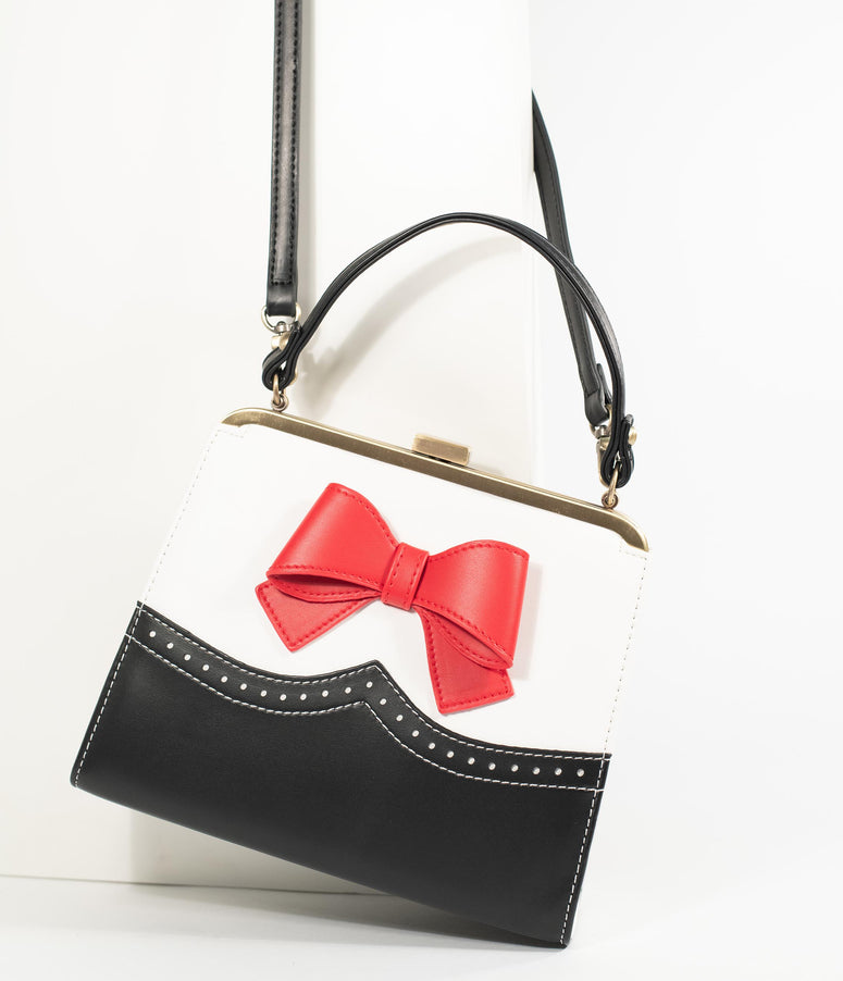 Lola Ramona Black & Ivory Inez Love Red Bow Frame Handbag