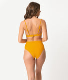 Mustard Yellow Smocked Tie Molded Swim Bikini Top