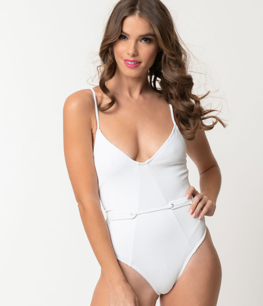 Retro White Corduroy Belted One Piece Swimsuit