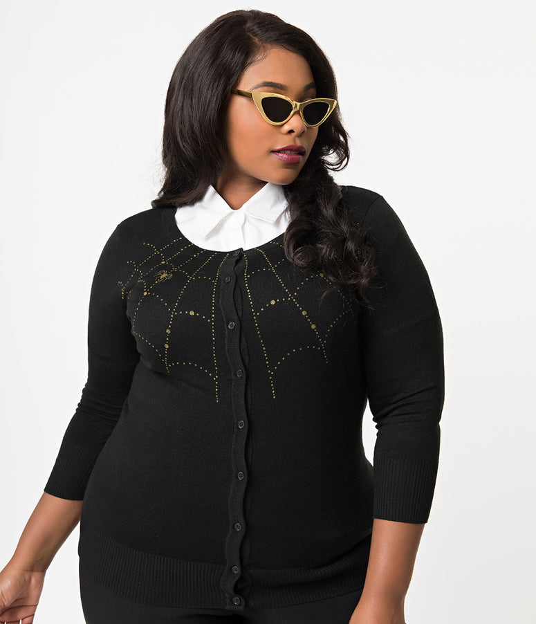 Plus Size Black Knit & Golden Spiderweb Three-Quarter Sleeved Cardigan