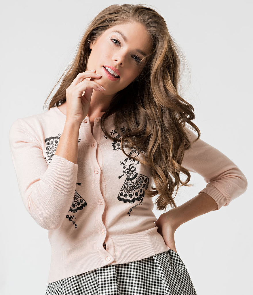 Peach Pink Knit & Black Floral Fan Three-Quarter Sleeved Cardigan