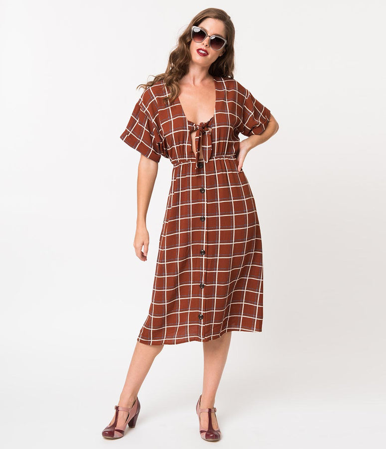 Rust Brown & White Checker Crepe Front Tie Midi Dress