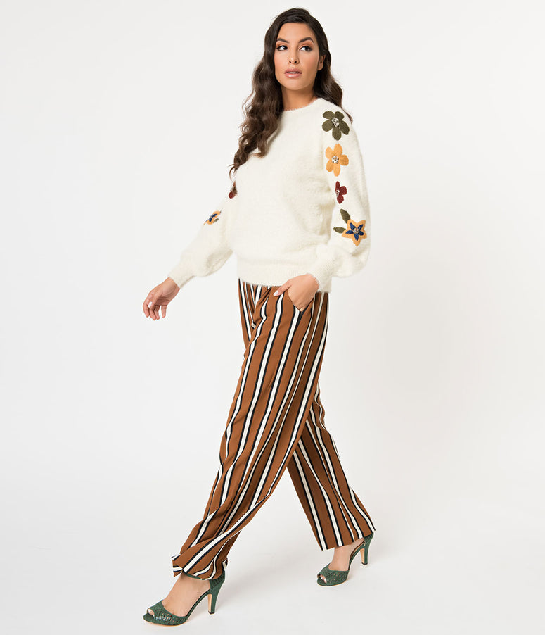 Vintage Style Camel Brown & White Stripe High Waisted Pants