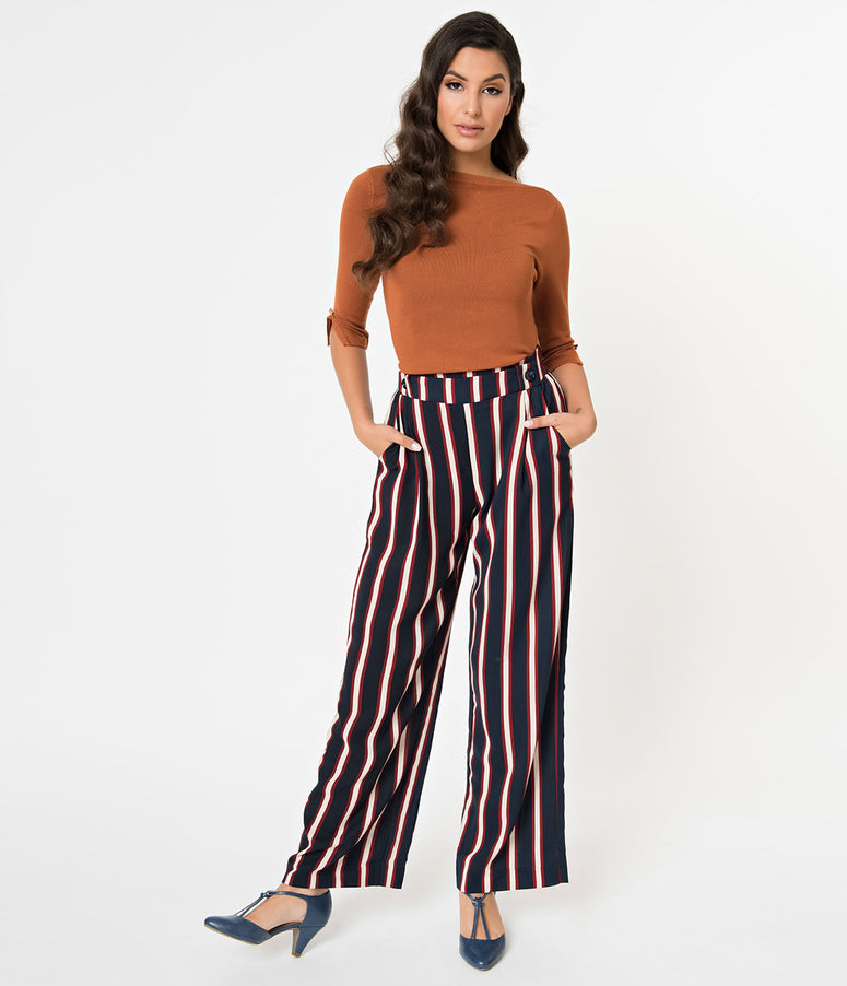 Vintage Style Navy Blue & White Stripe High Waisted Pants