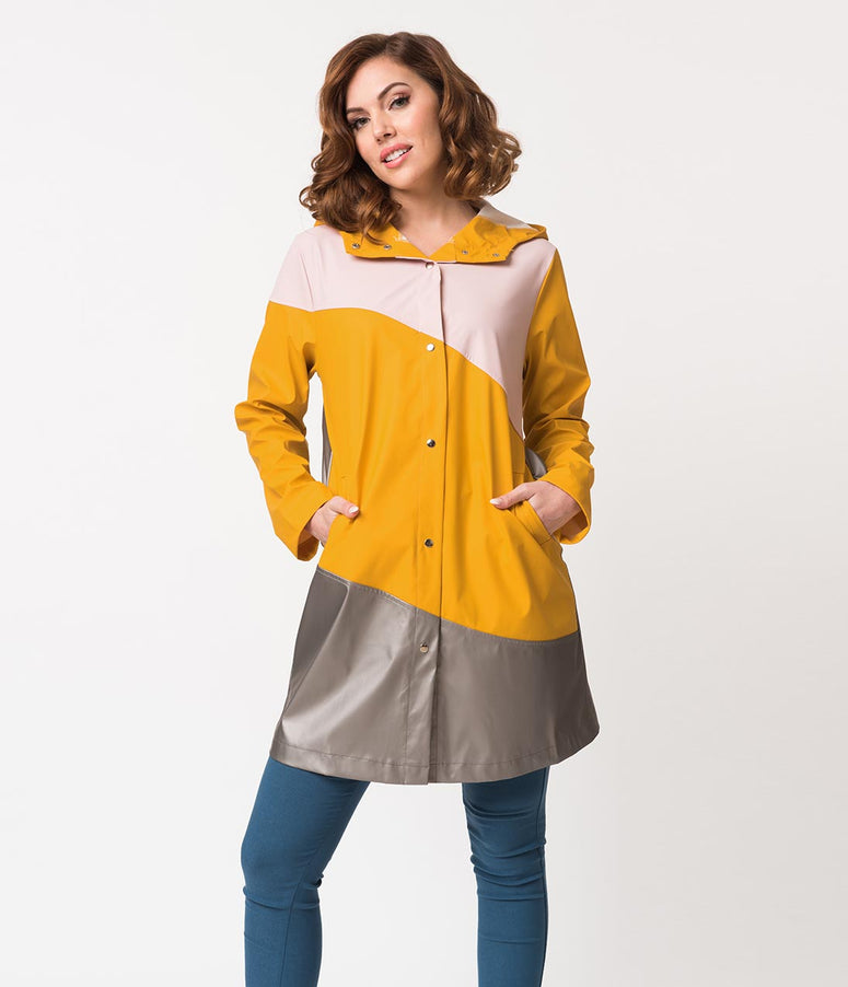 Retro Style Colorblock Pink & Yellow Button Up Hooded Raincoat