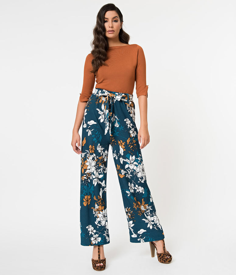 Teal & White Floral Textured Wide Leg High Waist Pants
