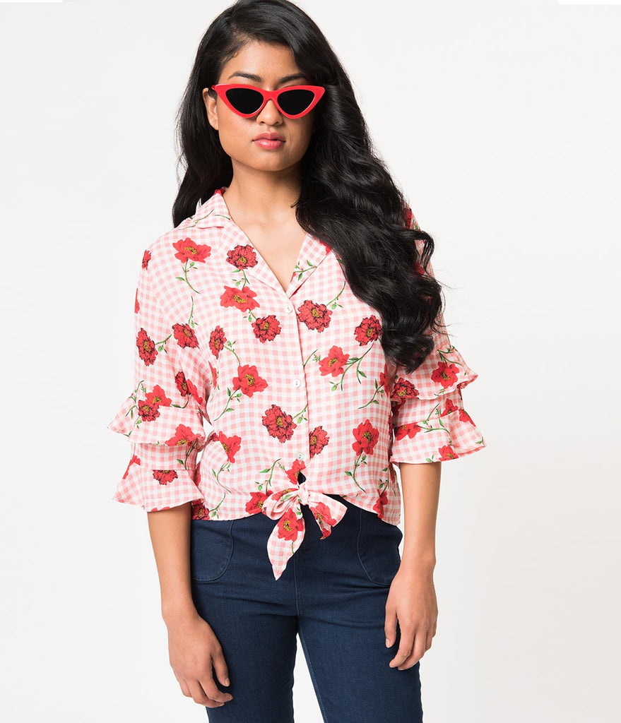 Pink Gingham & Red Floral Ruffle Sleeve Button Up Blouse
