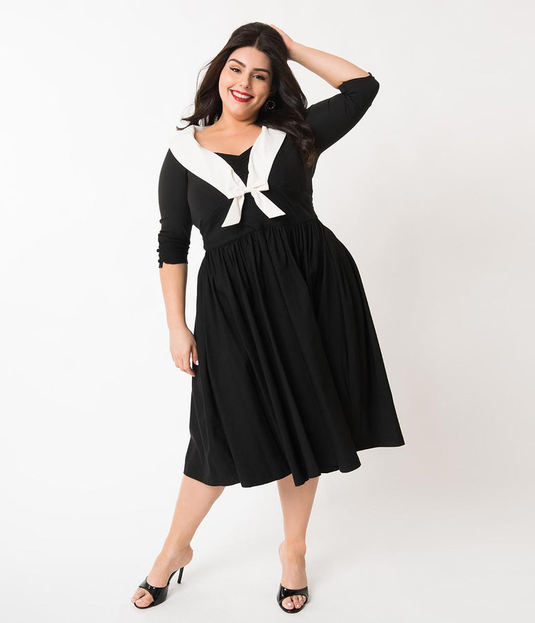 Unique Vintage Plus Size 1950s Style Black & White Half Sleeve Julien Swing Dress