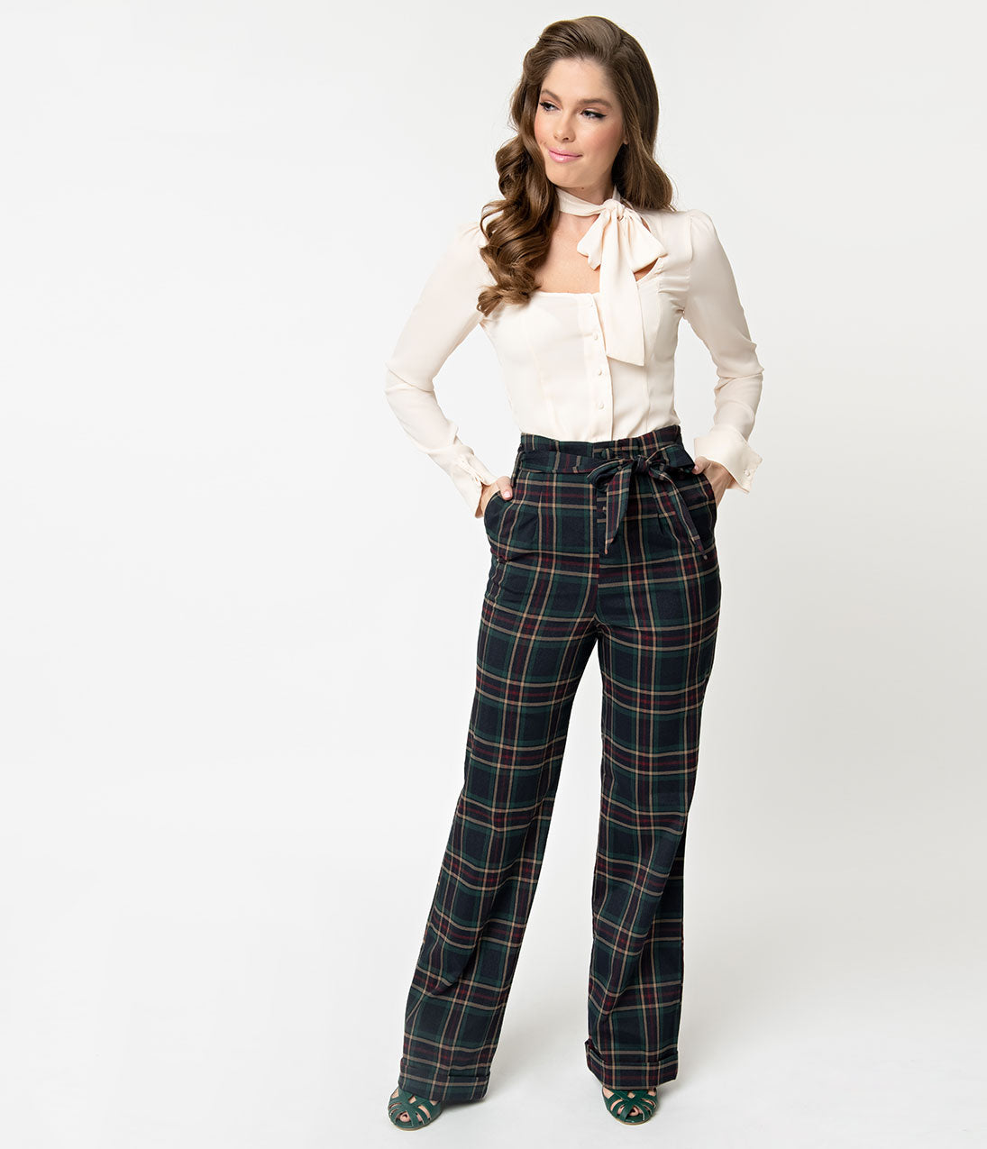 1940s Swing Pants & Sailor Trousers- Wide Leg, High Waist Unique Vintage 1940S Style Navy  Emerald Plaid Paper Bag High Waisted Myrna Pants $88.00 AT vintagedancer.com