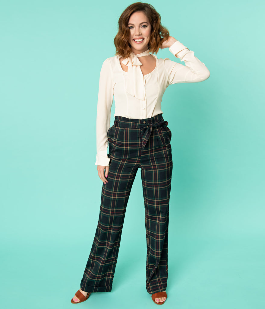 Unique Vintage 1940s Style Navy & Emerald Plaid Paper Bag High Waisted Myrna Pants