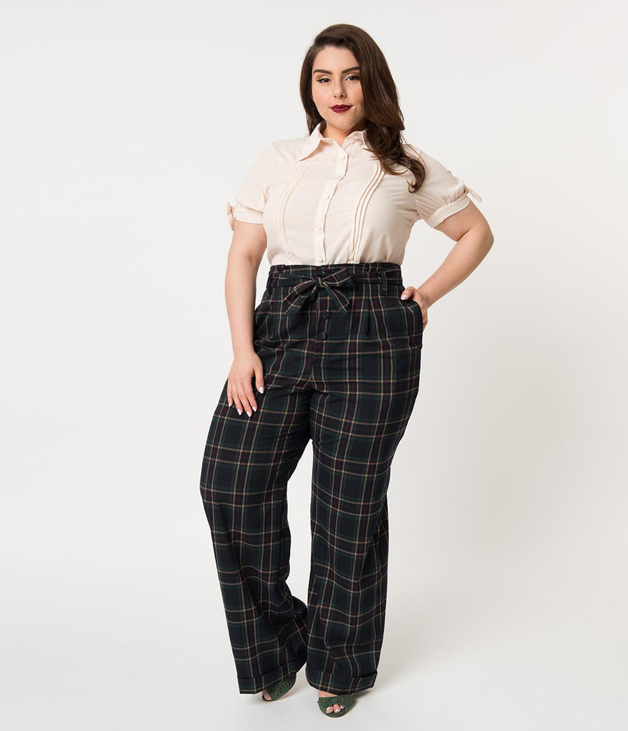 844c6f5c4ab Unique Vintage Plus Size 1940s Style Navy   Emerald Plaid High Waisted