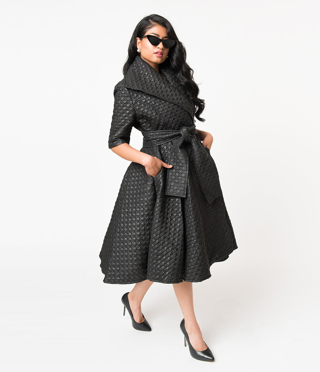 1950s Jackets, Coats, Bolero | Swing, Pin Up, Rockabilly Black Quilted Half Sleeve Wrap Coat $128.00 AT vintagedancer.com