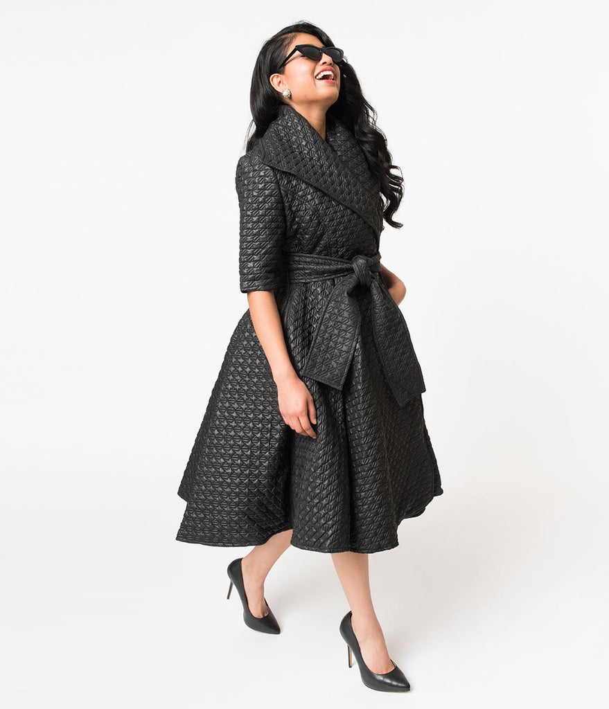 Black Quilted Half Sleeve Wrap Coat