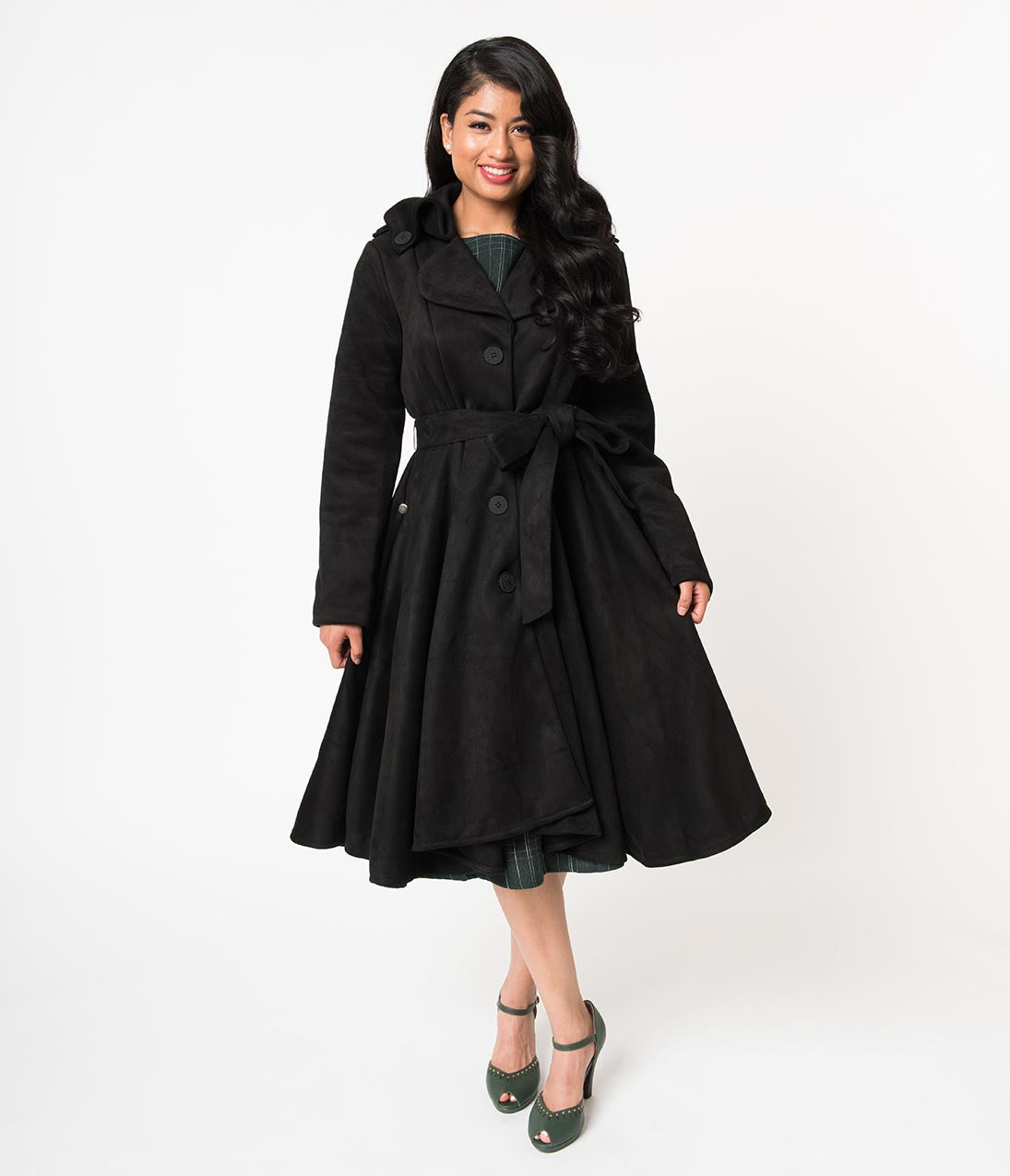 1950s Jackets, Coats, Bolero | Swing, Pin Up, Rockabilly Black Suede Button Up Long Sleeve Swing Coat $118.00 AT vintagedancer.com