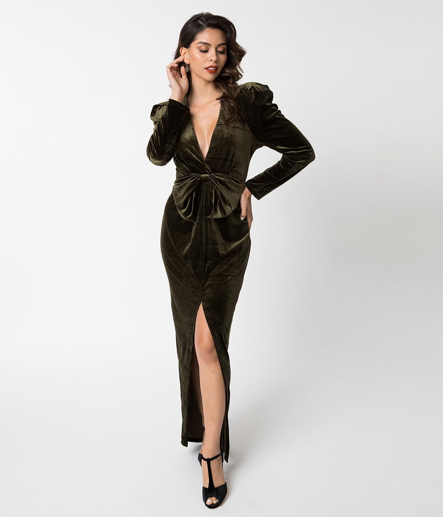 dadc43208b89 Vintage Style Olive Green Velvet Long Sleeve Sexy Maxi Gown – Unique Vintage
