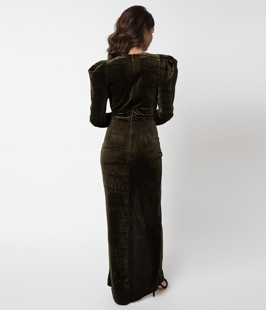 3064ac158a Vintage Style Olive Green Velvet Long Sleeve Sexy Maxi Gown – Unique ...