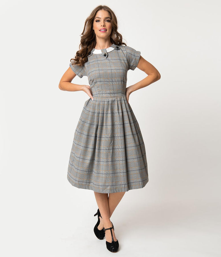 Retro Style Grey Plaid Check Short Sleeve Beatrice Swing Dress