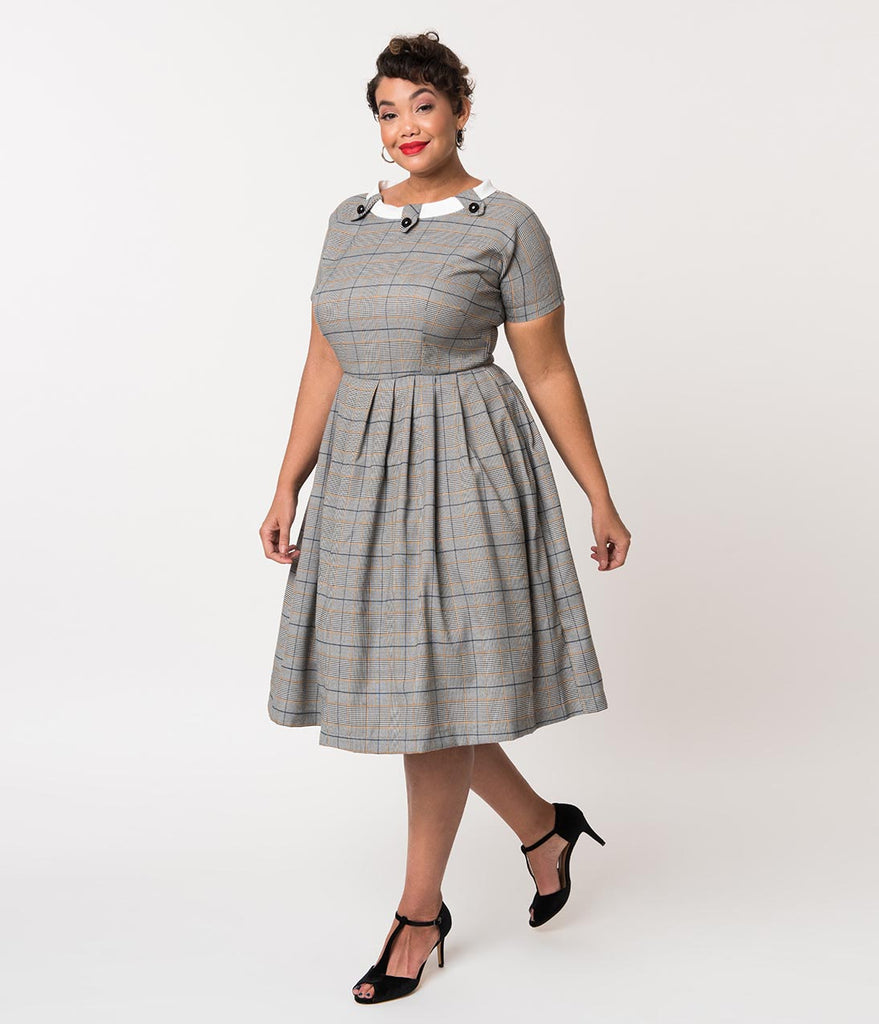 Plus Size Retro Style Grey Plaid Check Short Sleeve Beatrice Swing Dress