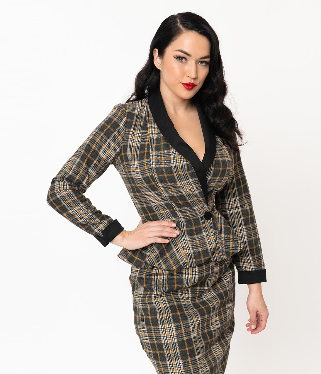 1940s Style Coats and Jackets for Sale 1940S Grey  Mustard Plaid Woven Peplum Millie Jacket $82.00 AT vintagedancer.com