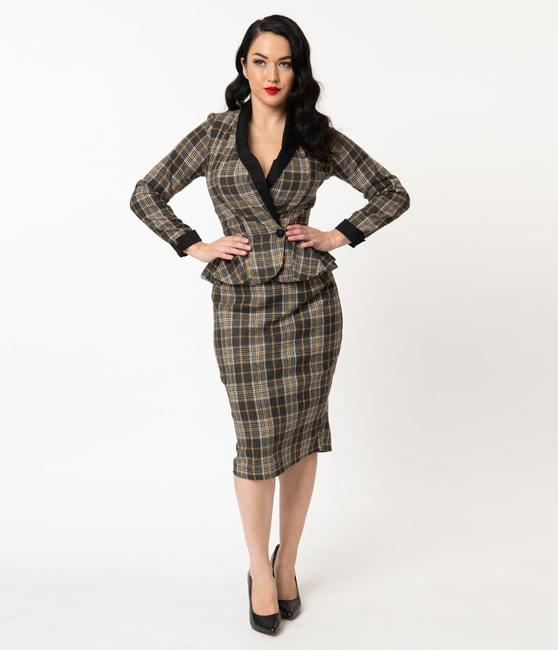 Vintage Tea Dresses, Floral Tea Dresses, Tea Length Dresses 1940S Grey  Mustard Plaid Woven Millie Pencil Skirt $68.00 AT vintagedancer.com