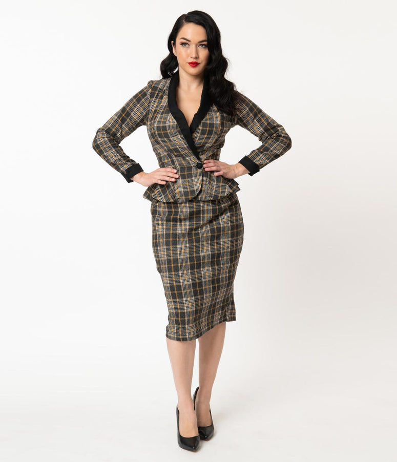 1940s Grey & Mustard Plaid Woven Millie Pencil Skirt