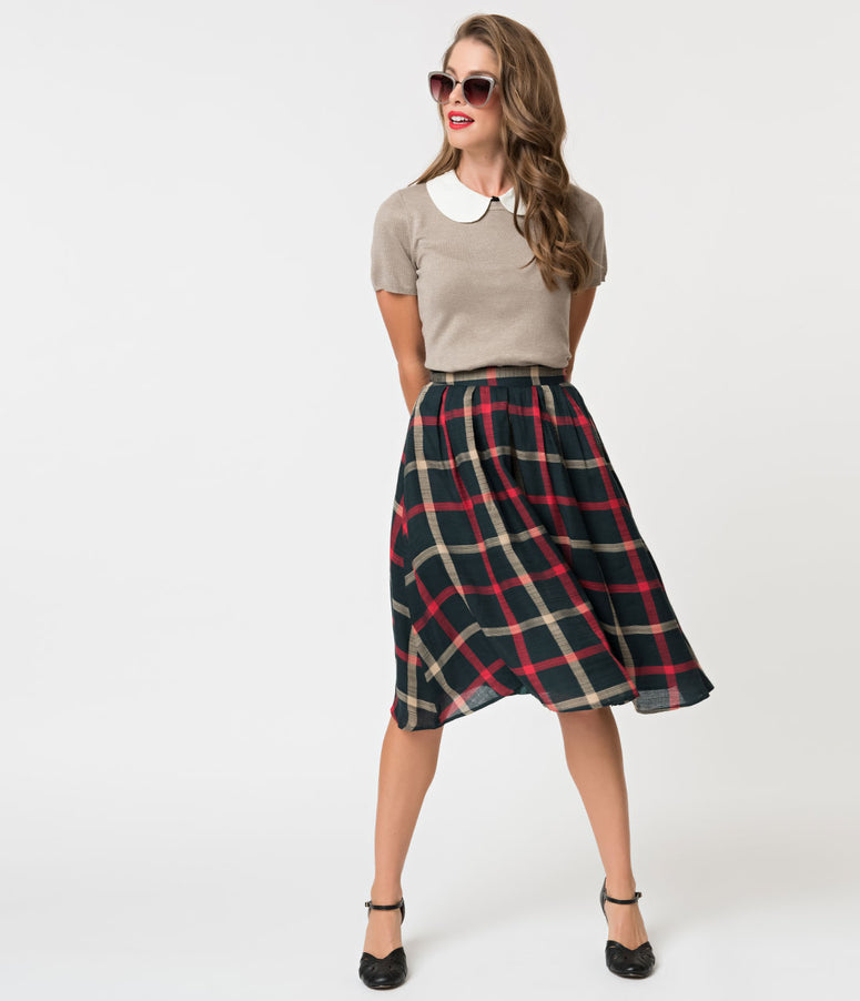 Vintage Style Dark Green Gingham Pleated Flare Skirt