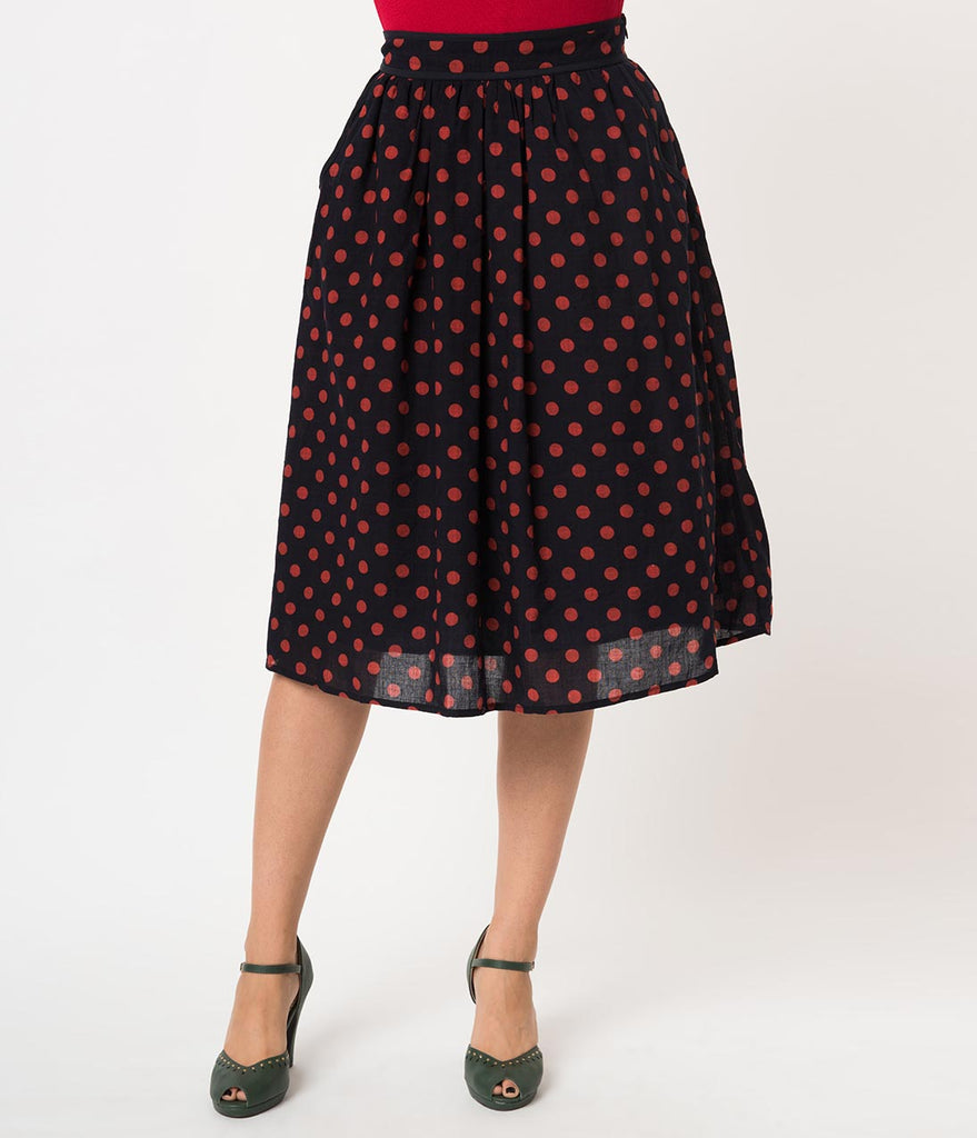 Retro Style Navy & Red Polka Dot Cotton High Waist Flare Skirt