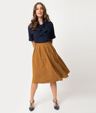 Vintage Style Mustard Gold Pleated High Waisted Flare Skirt