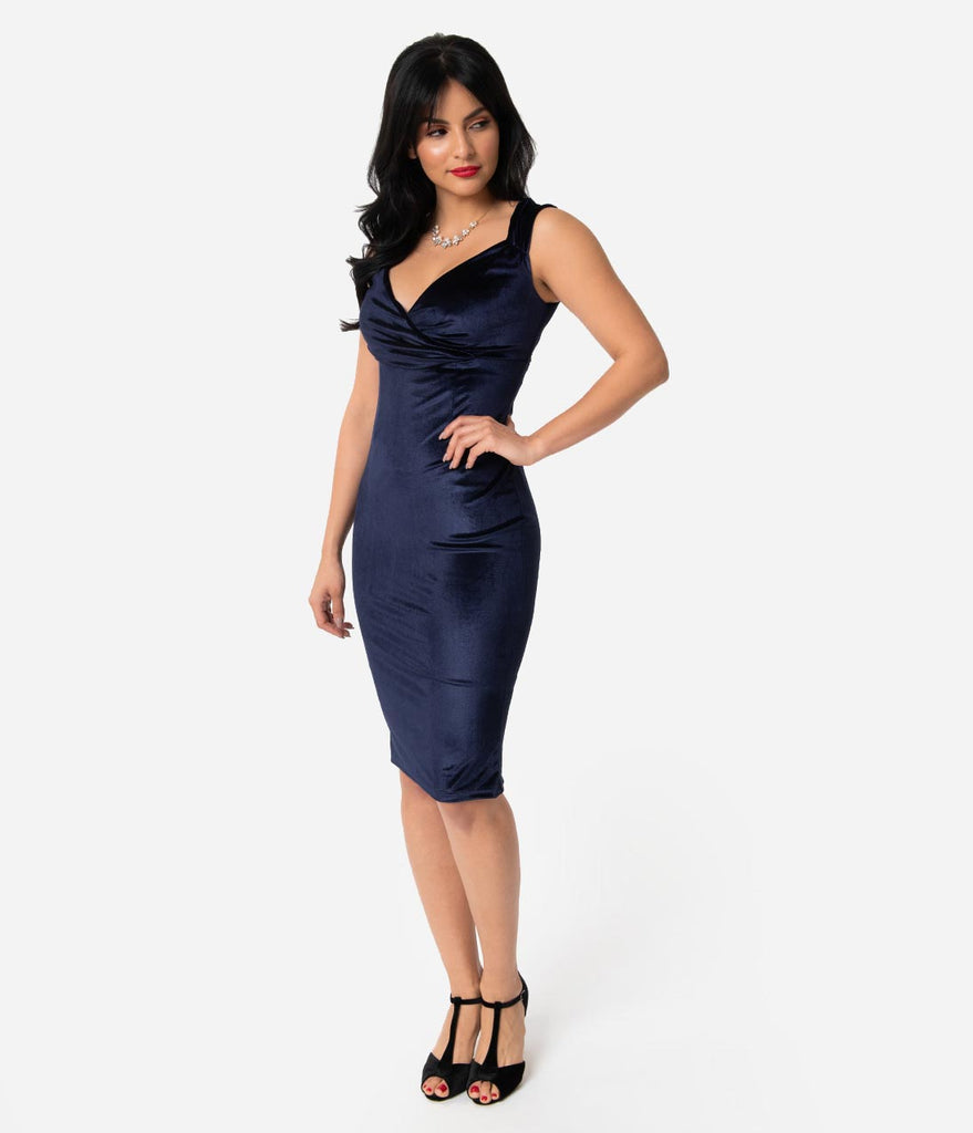 be6feeaad06 Steady 1950s Gucci Blue Velvet Sleeved Diva Wiggle Dress – Unique ...