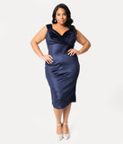 Steady Plus Size 1950s Gucci Blue Velvet Sleeved Diva Wiggle Dress
