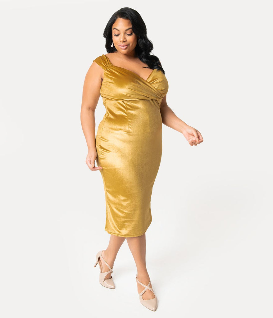904368978dc ... Steady Plus Size 1950s Gold Velvet Sleeved Diva Wiggle Dress ...