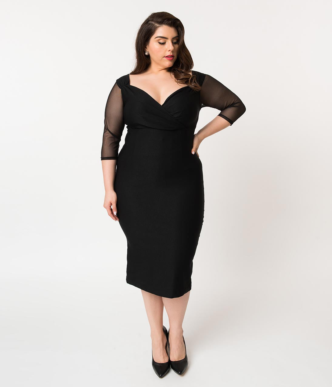 1940s Dresses | 40s Dress, Swing Dress Steady Plus Size Black Madame La Mort Sheer Sleeve Diva Wiggle Dress $82.00 AT vintagedancer.com