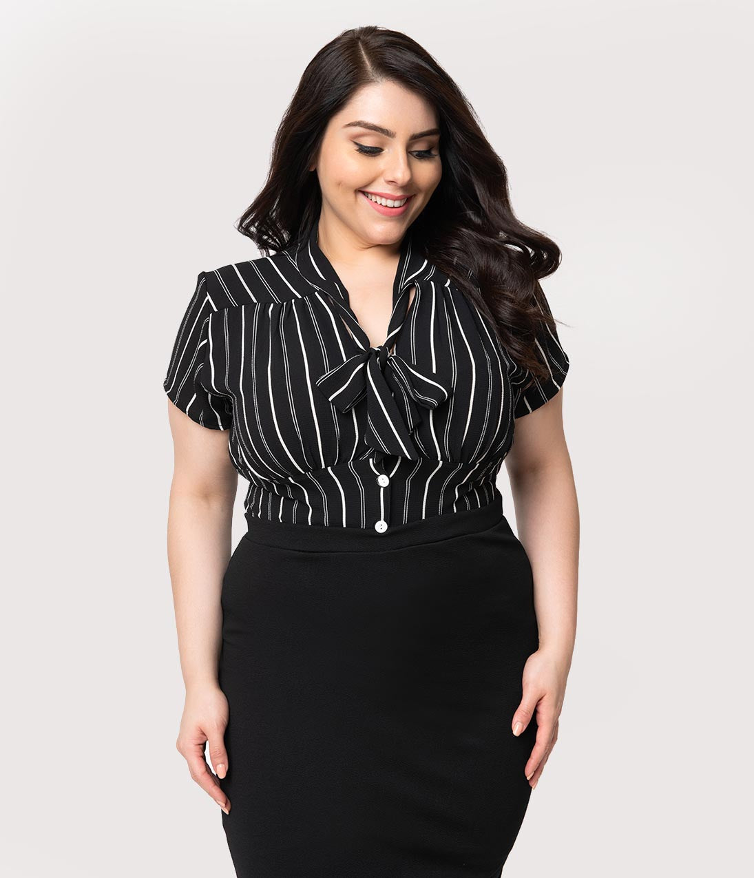 1940s Plus Size Fashion: Style Advice from 1940s to Today Steady Plus Size Retro 1940S Black  White Stripe Button Up Harlow Top $52.00 AT vintagedancer.com