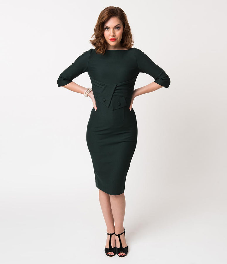 Vintage Diva 1960s Forest Green Stretch Sleeved Sarah Wiggle Dress